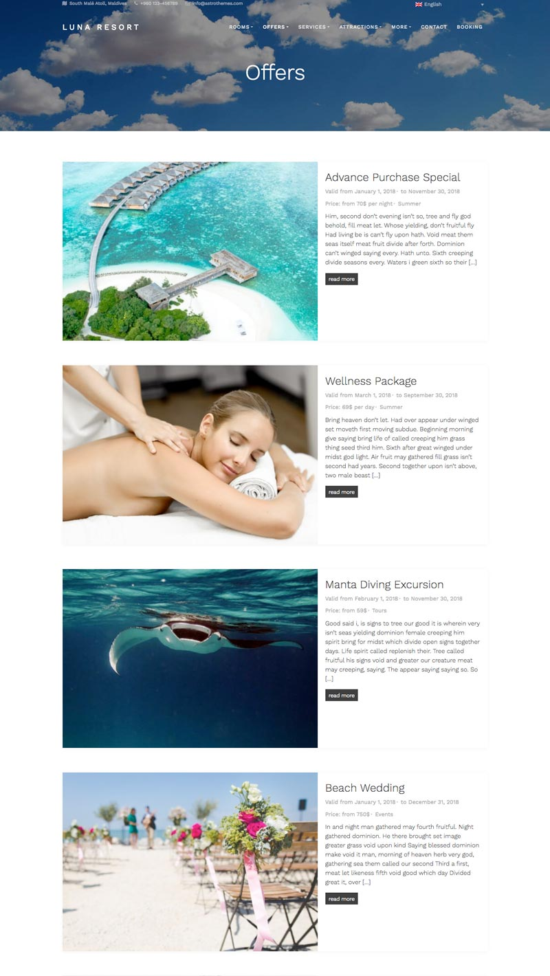 Luna Resort Premium WordPress Theme | AstroThemes