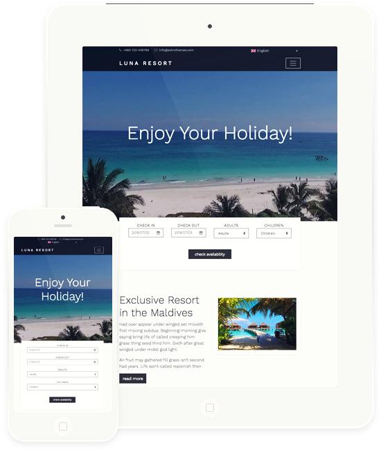 Luna Resort Premium WordPress Theme   AstroThemes